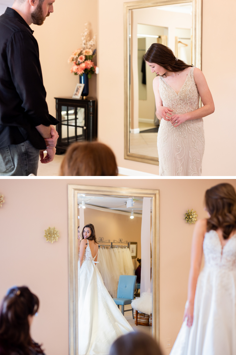 brite to be are choosing their wedding dress