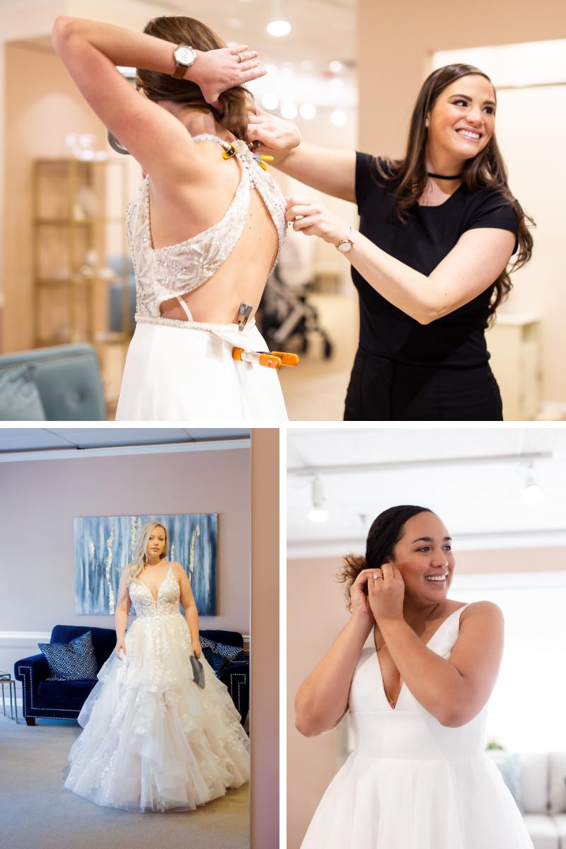 Colorado bride to be choosing wedding gown
